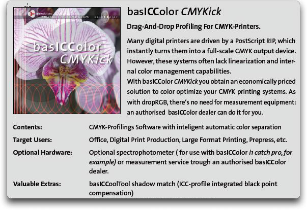 basICColor CMYKick, simple and accurate CMYK printer profiling and reprofiling from existing data, rebuild your existing profiles to a higher quality
