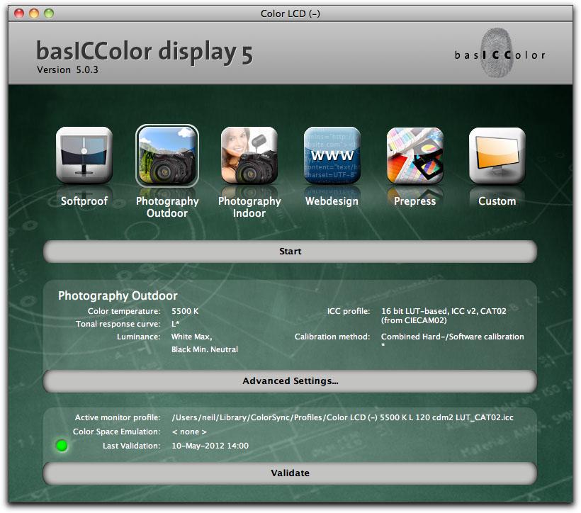 basICColor Main Screen