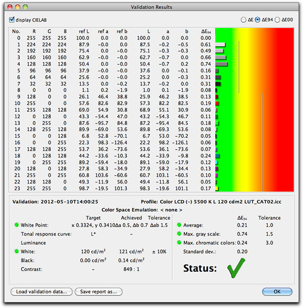 basICColor display software validation screen